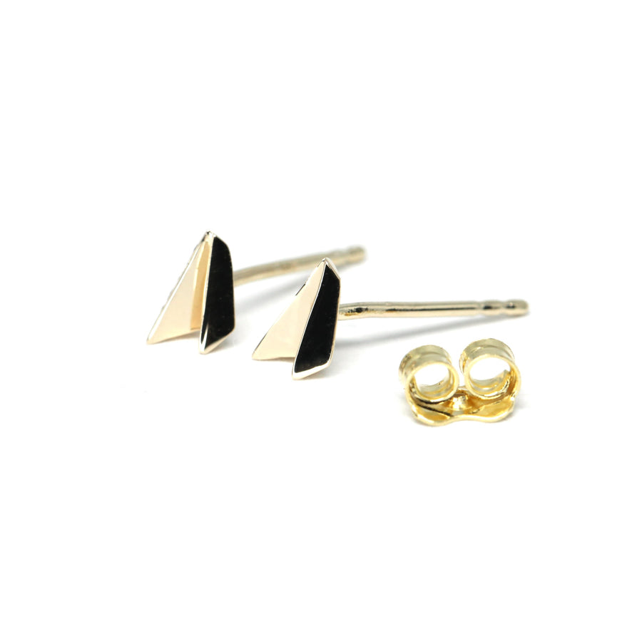Minimalist yellow gold stud earrings by Bena Jewelry Designer Made in Montreal Canada from Fancy Edgy Collection