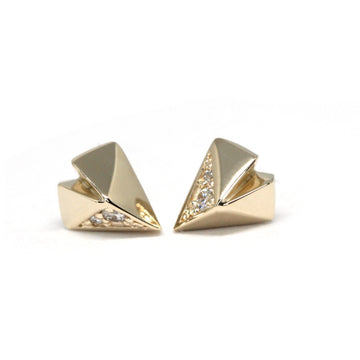 Diamond Heart Yellow Gold Earrings - 0.05 ct