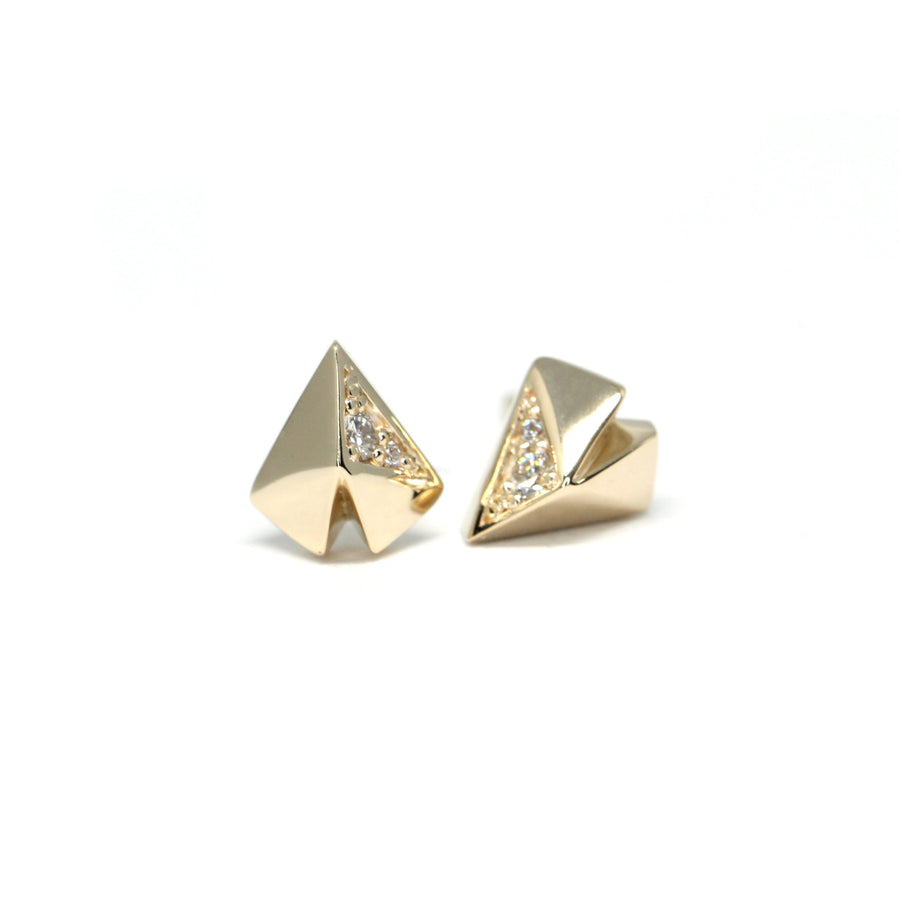 Yellow Gold Heart Shape Diamond Stud Earrings Bena Jewerly Made In Montreal Canada Side View
