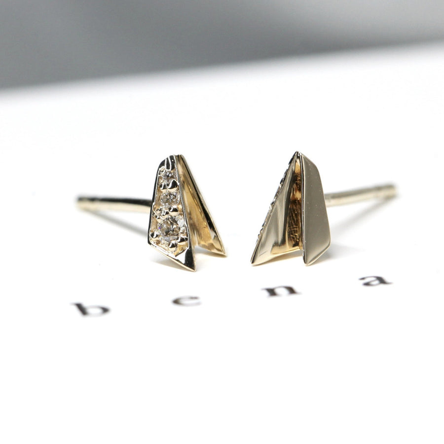 Side view Fancy Edgy Yellow Gold and Diamond Stud Earrings Made in Montreal Canada by Bena Jewelry Designer