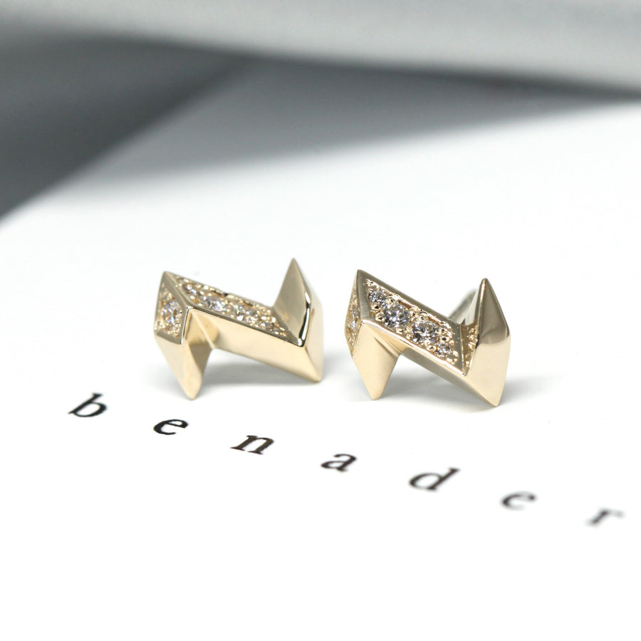 Electric Shape Stud Earrings with Round Diamonds Bena Jewelry Montreal Made in Canada