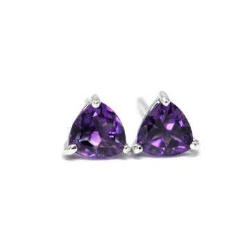 Purple Trillion Amethyst Stud Earrings