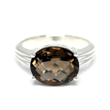Oval Chocolate Brown Smoky Quartz Silver Ring