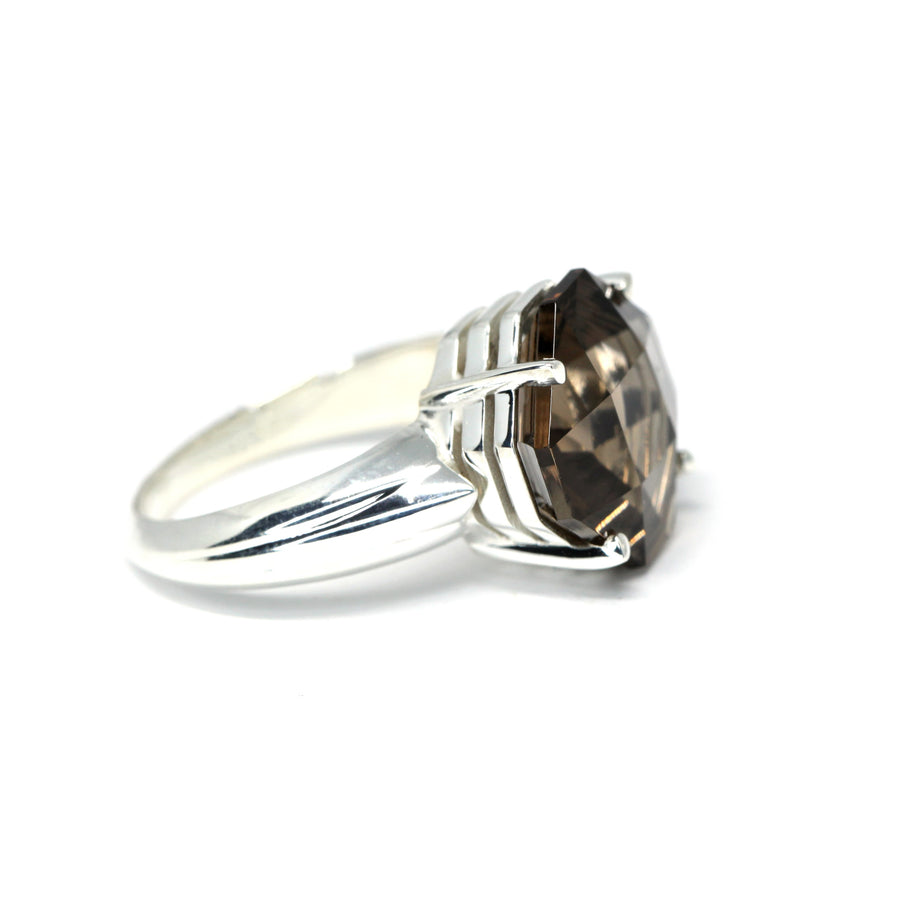 Fancy Square Cut Smoky Quartz Silver Ring