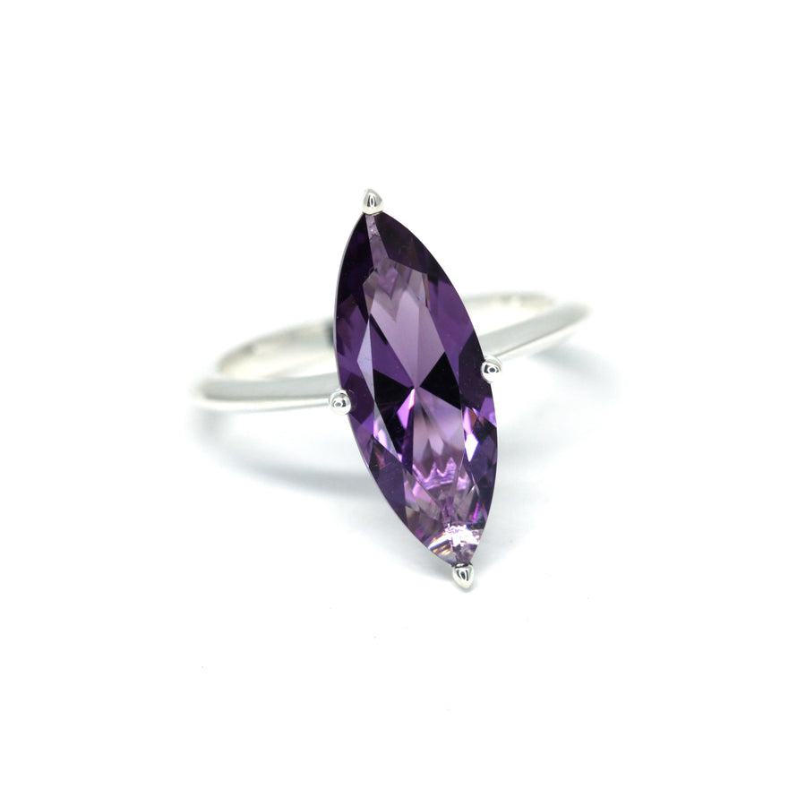 Large Marquise Cut Light Purple Amethyst Silver Ring