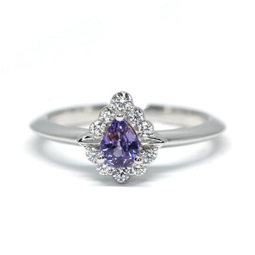 Pear Shape Deep Violet Sapphire Diamond Halo Gold Ring