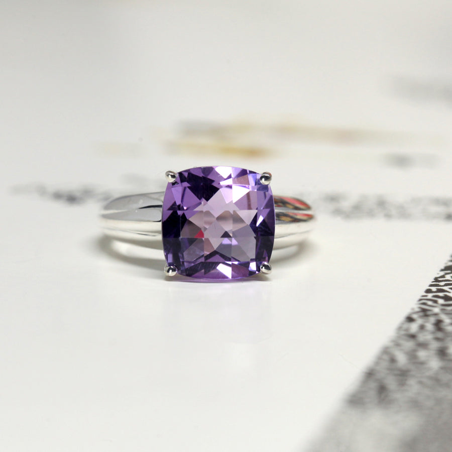 Large Cushion Cut Amethyst Silver Ring