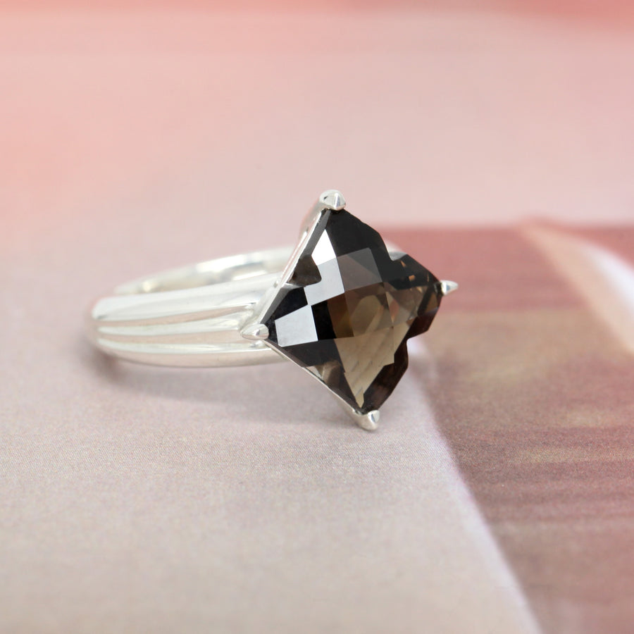 Square Shape Smokey Quartz Silver Ring