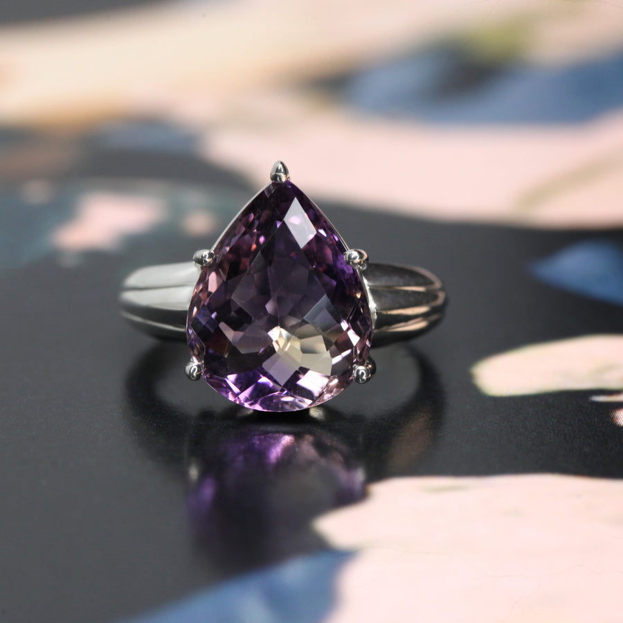 Large Pear Shape Ametrine Blod Silver Ring