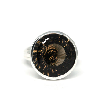 Fancy Round Smoky Quartz Silver Ring