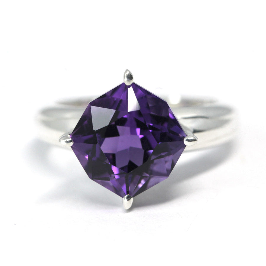Fancy Cushion Cut Amethyst Silver Ring