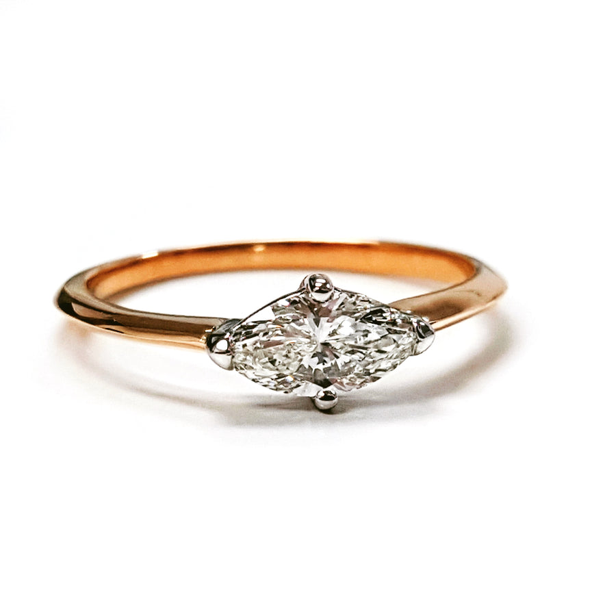 Rose Gold Marquise Diamond Engagement Ring