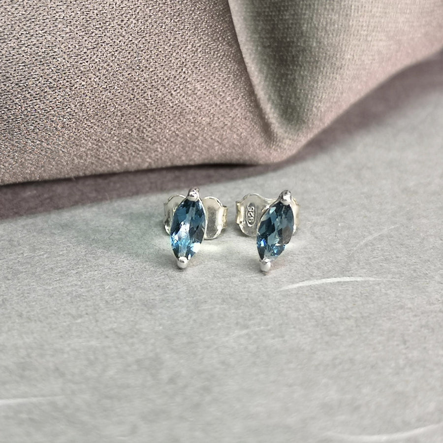 Gemstone stud earrings sterling silver marquise cut blue topaze
