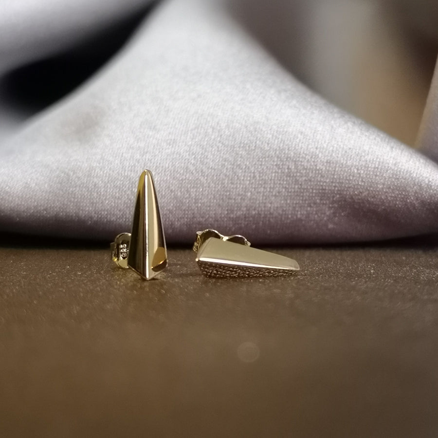 Stud earrings. Silver stud gold plated earrings. Elegant Small Stud