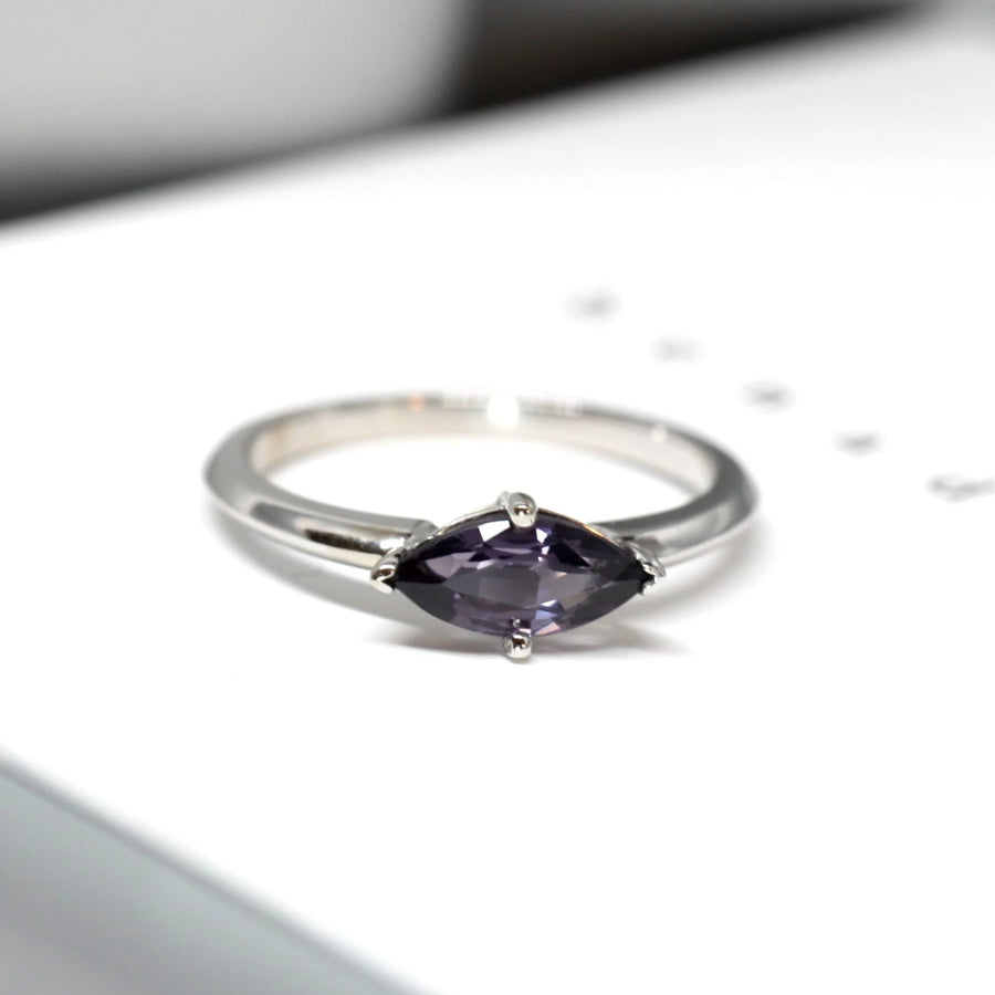 Marquise cut purple spinel gemstone white gold ring. Gemstone gold ring