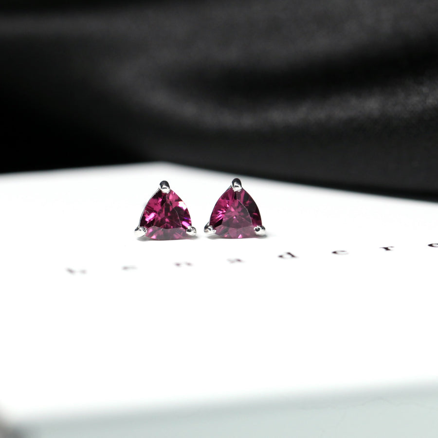 Pink Trillion Rhodolite Garnet Stud Earrings