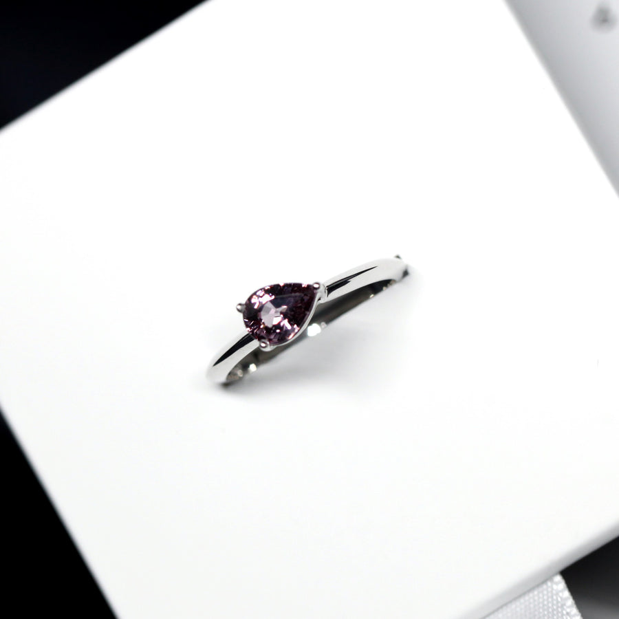 Pear cut malaya spinel gemstone white gold ring gemstone gold ring
