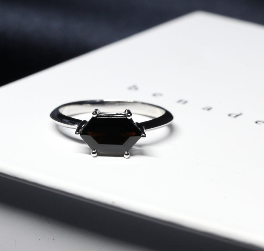 Hexagonal shape black spinel gemstone white gold ring. Gemstone bridal