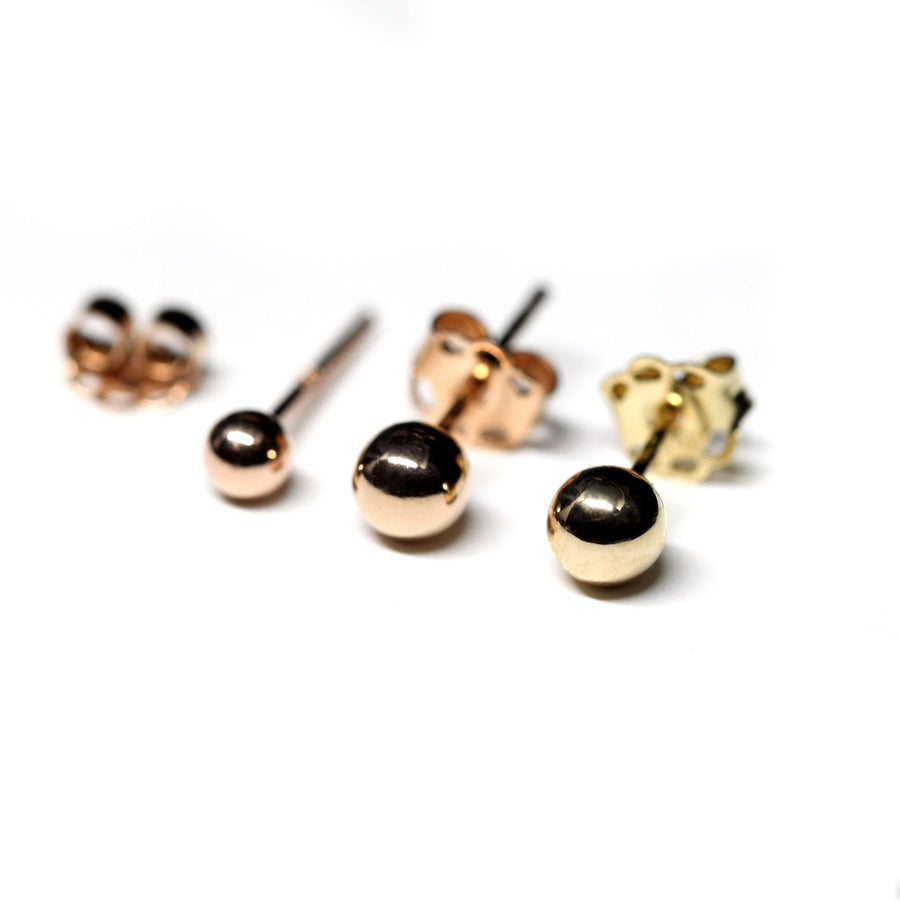 Set of 3 Gold Balls Stud Earrings