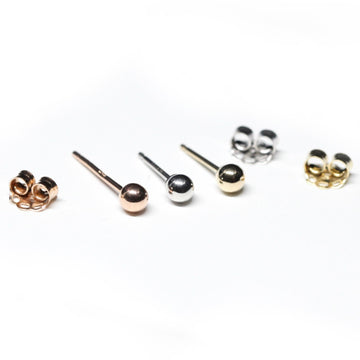 Set of 3 Gold Small Gold Stud Earrings Balls