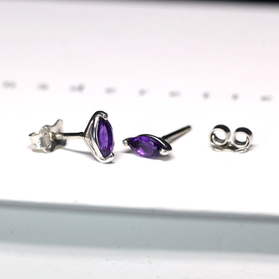 Gemstone stud earrings sterling silver marquise cut amethyst