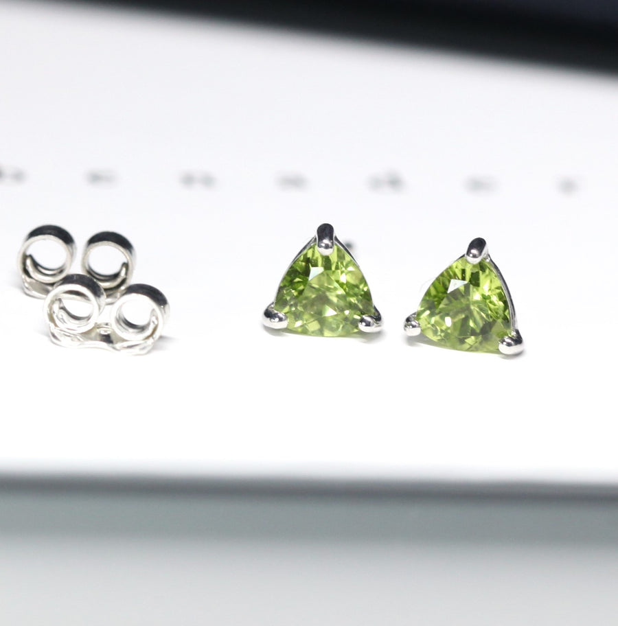 Gemstone stud earrings sterling silver trillion peridot