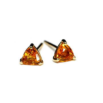 Tangerine Trillion Sapphire Stud Earrings