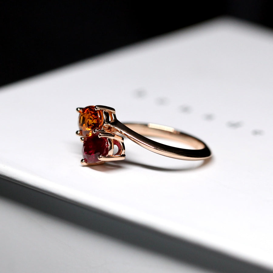 Side view of the rose gold engagement ring toi et moi ring with oval color gemstone bena jewelry designer montreal handmade in canada fine jewelry custom jeweler little italy