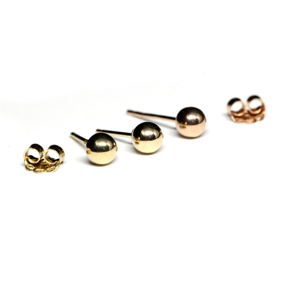 Set of 3 Gold 4 mm 14 kt Gold Stud Earrings Balls
