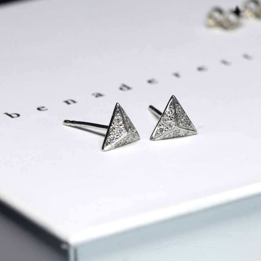 Side view of the Bena Jewelry white gold stud earrings made in Montreal Canada