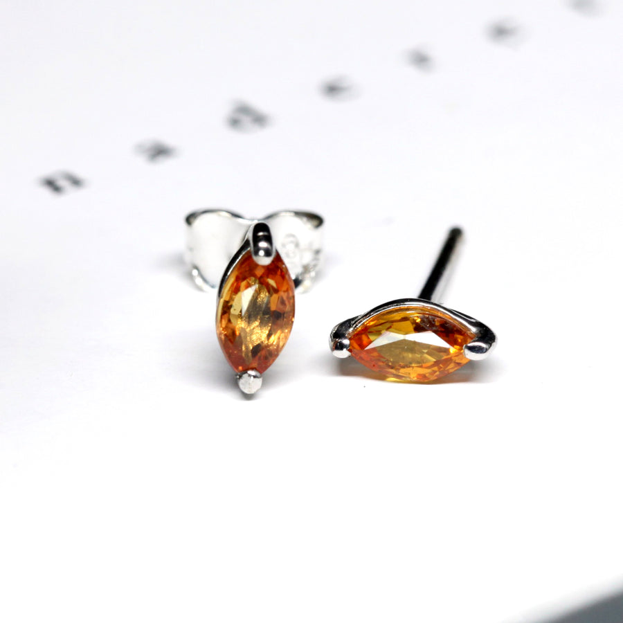 Orange Sapphire Marquise Shape Silver Studs