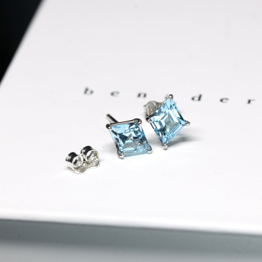 Lozenge Sky Blue Topaz Stud Earrings - Large