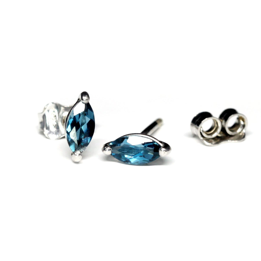 London Blue Topaz Marquise Stud Earrings