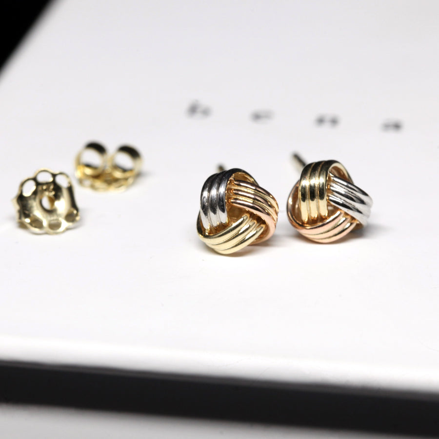 Three Gold Small Nods Earrings - 10 kt