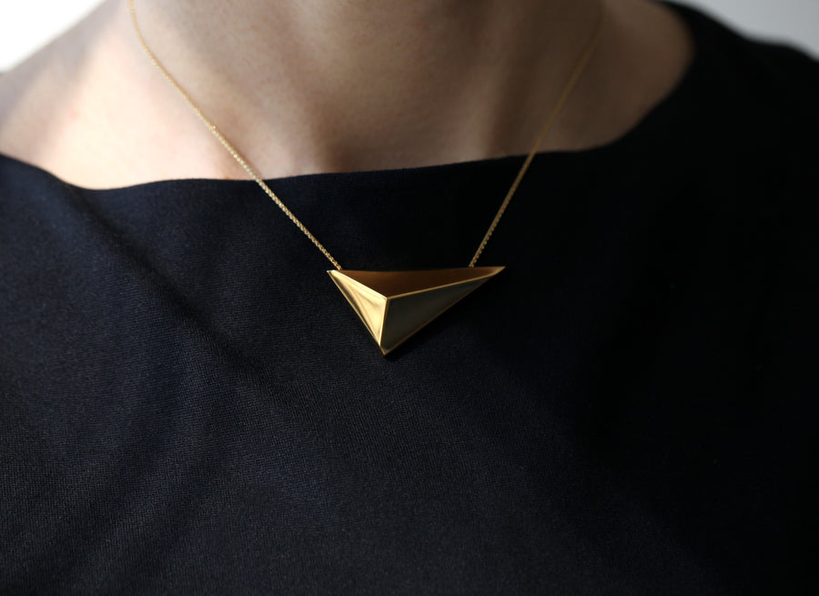 Gold Plated Horizontal Pyramid Pendant
