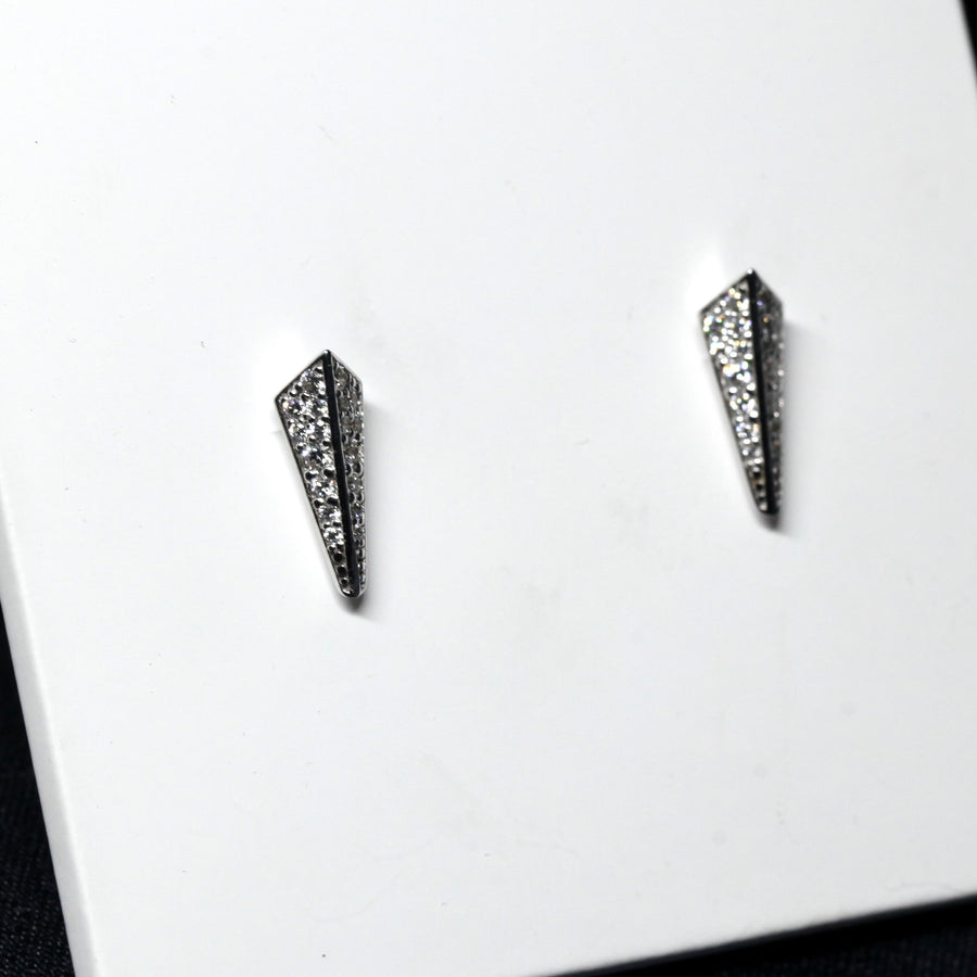 Face of Pike white gold earrings studs with round diamonds stud earrings Fancy Edgy Collection Bena Jewelry Fine Jewls Made in Montreal Canada Jewelry Designer