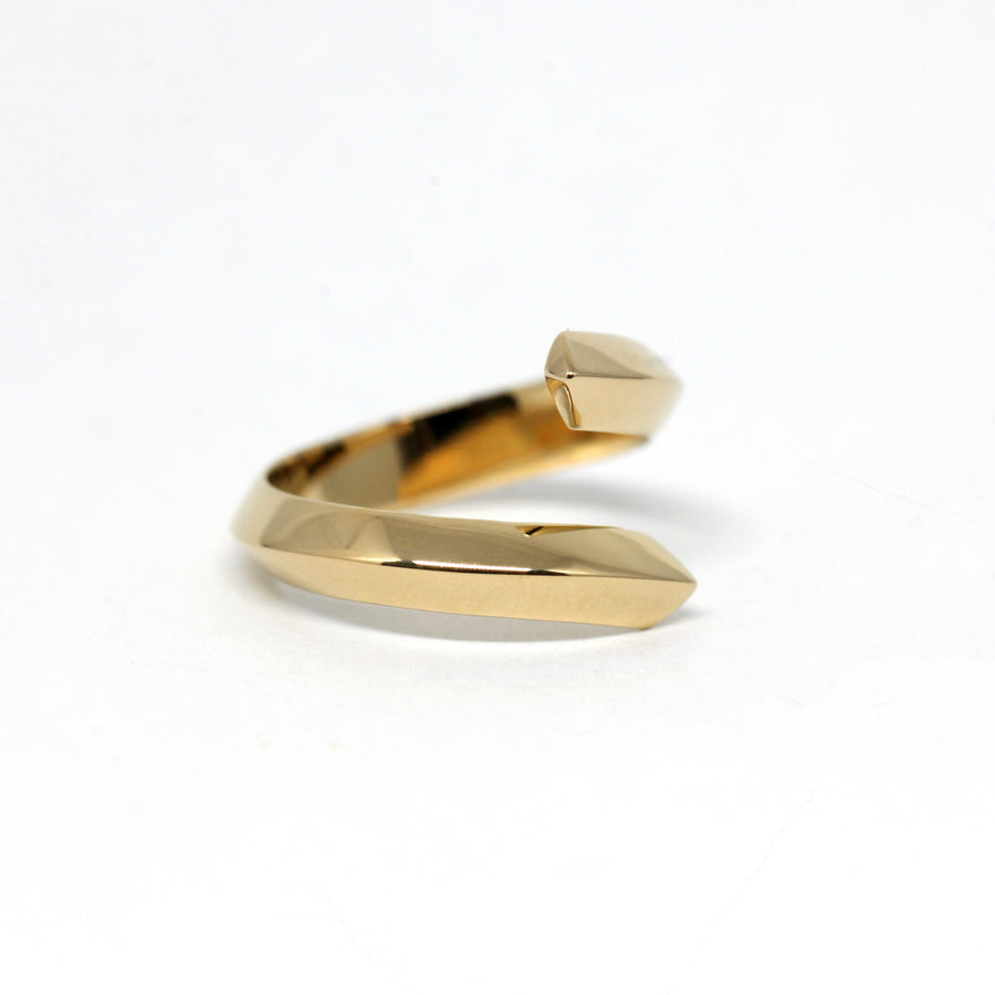 Side view yellow gold silver plated ring bena jewelry montreal designer fine jewelry minimalist jewels montreal made in canada