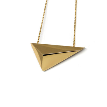 Pyramidal Vermeil Pendant Edgy Collection Yellow Gold Plated Jewelry Bena Jewelry Montreal Fine Designer Made in Canada