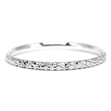 Silver Chiseled Bangle Bracelet