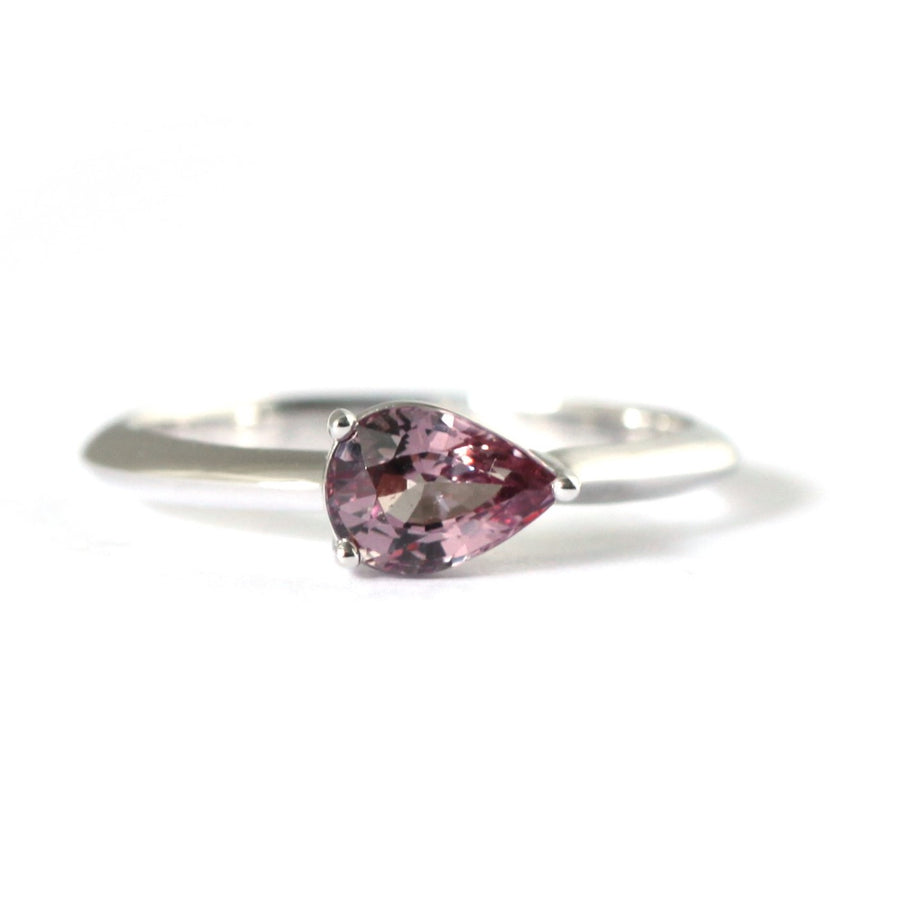 Pear Cut Malaya Garnet White Gold Ring