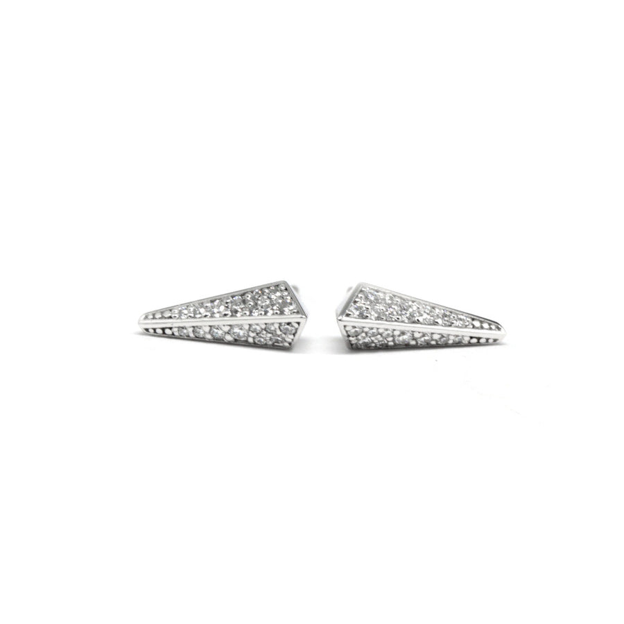 Front view Pike stud earrings white gold small round diamonds Fancy Edgy collection by Bena Jewelry Designer Fine Jewelry Made in Montreal Canada
