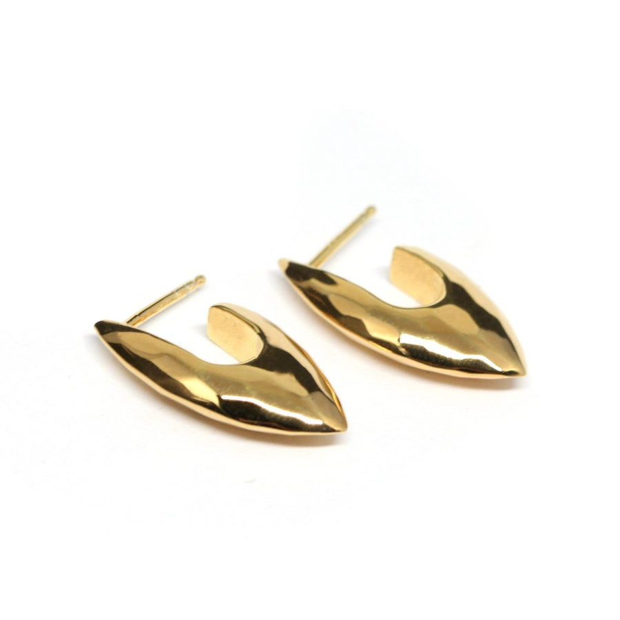 Gold Plated Rough Faceted Earrings
