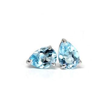 Topaz Pear Blue Sky Small Stud Earrings