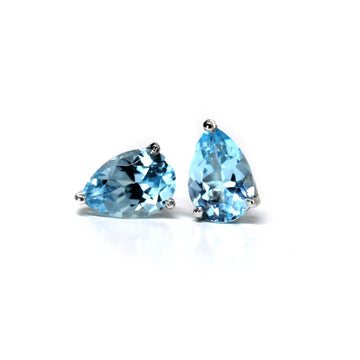 Large Pear Cut Sky Blue Topaz Stud Earrings
