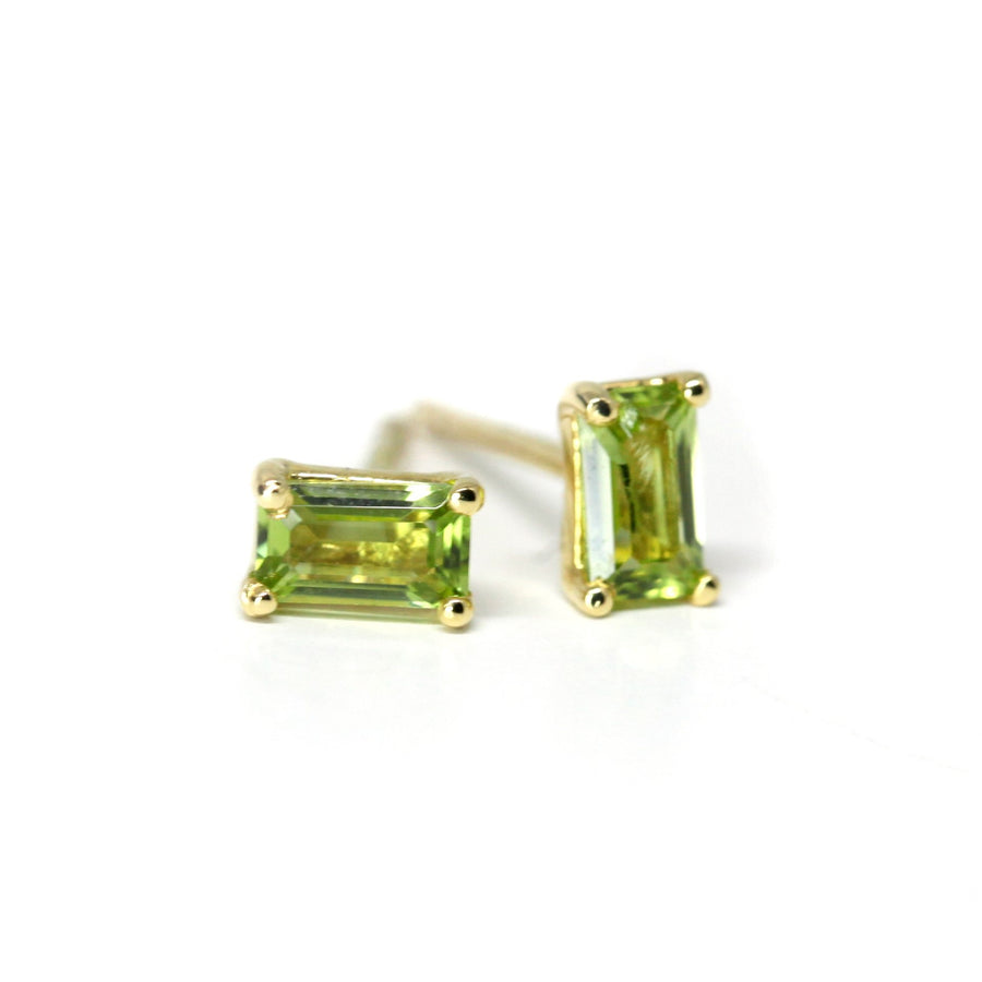 Peridot Baguette Cut Gold Stud Earrings