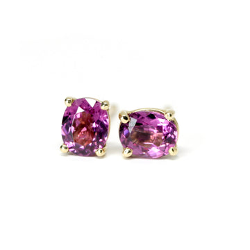 Rhodolite Oval Garnet Gold Stud Earrings