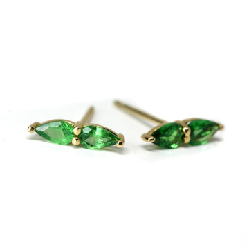 Tsavorite Garnet Double Pear Yellow Gold Stud Earrings