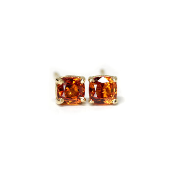 Tangerine Cushion Gold Single Stud Earring