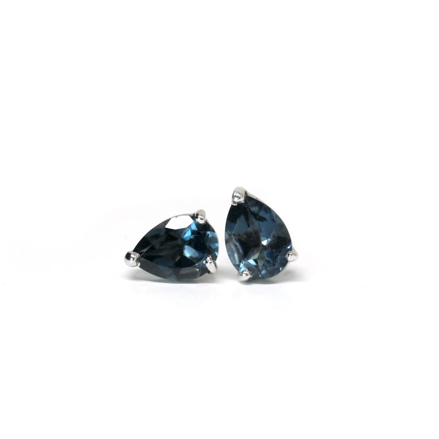 London Blue Small Pear Shape Topaz Stud Earrings