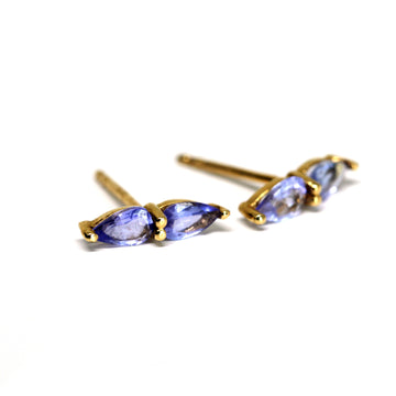 Tanzanite Double Pear Gold Stud Earrings